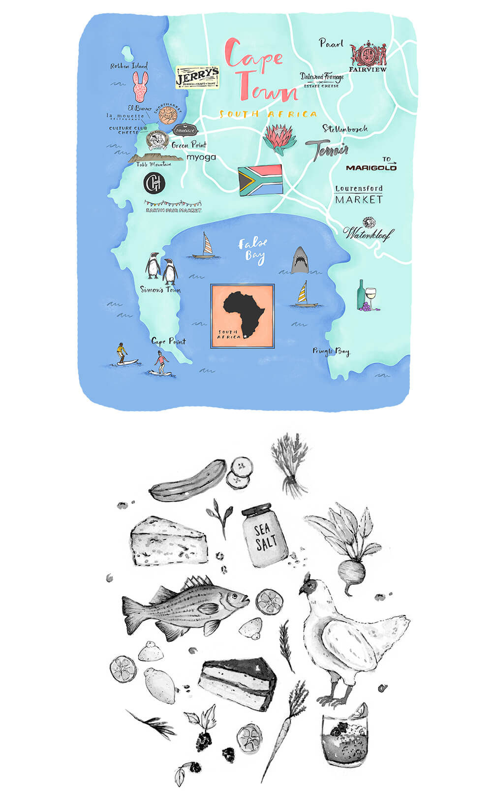 Cape town map and food illustrations