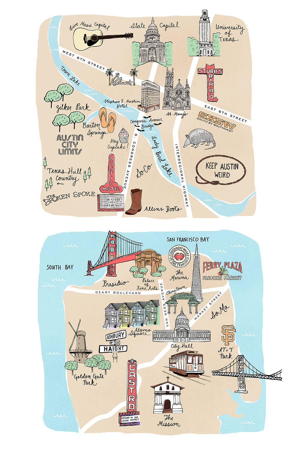 Austin and San Francisco maps